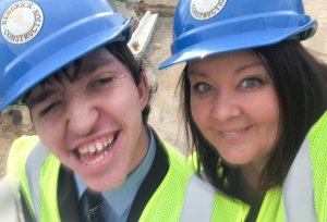 Andrea & TJ on site for Hard Hat Tour