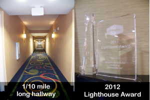 Long hallway and 2012 lighthouse award