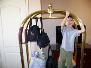 TJ Riding Luggage Cart in Room