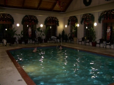 Indoor Pool with decorated windows