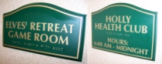 Game Room and Fitness Center signs